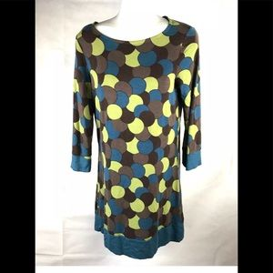 Boden Mod Sphere Print Teal Brown Shift Dress 6